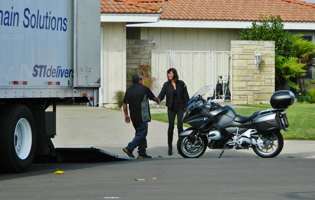 Picking up a motorcycle at our customers residence