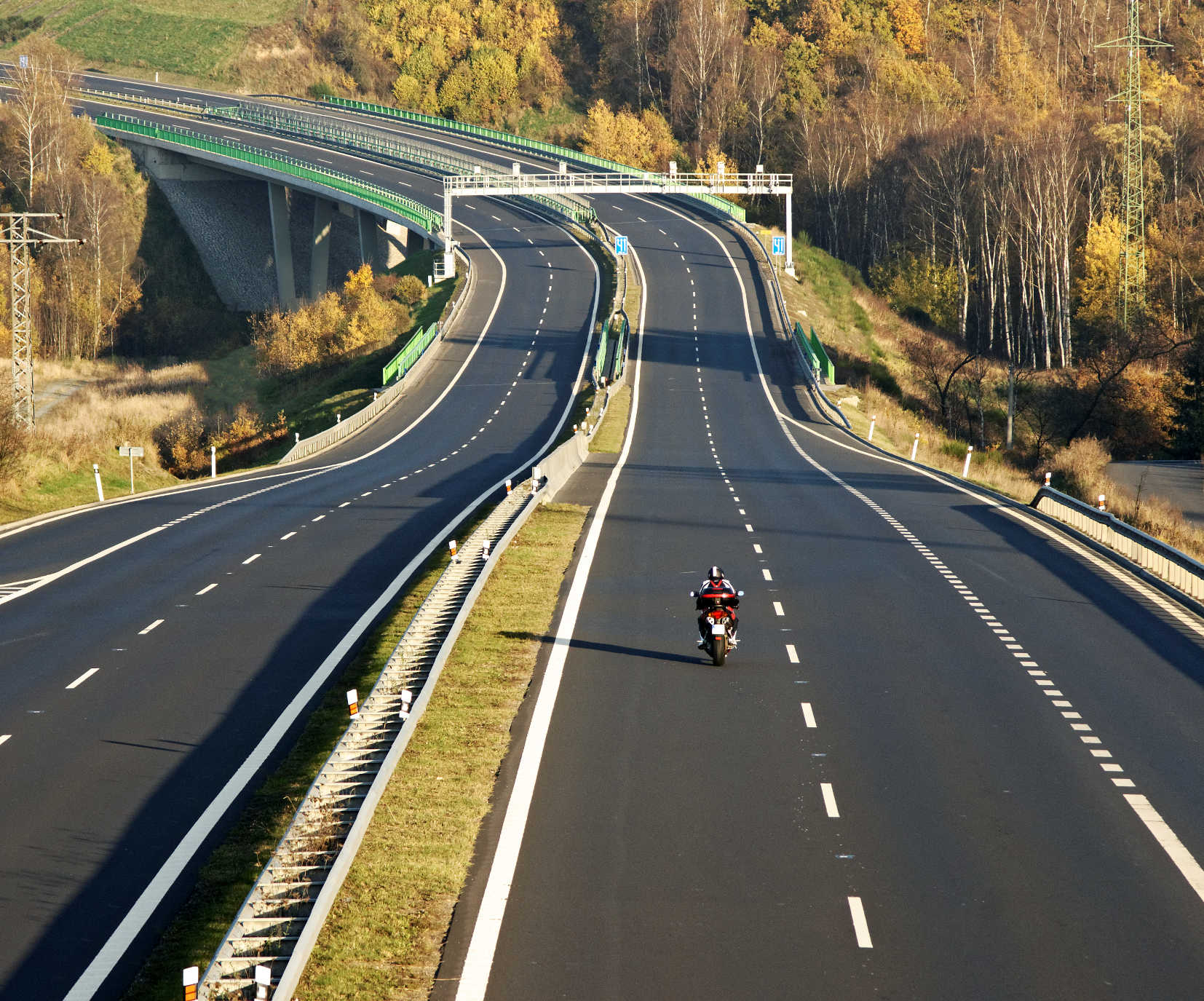 Motorcycle riding on open road
