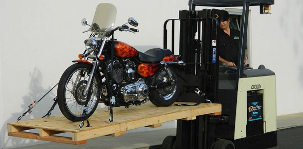 Motorcycle on Cycle Skid on fork lift
