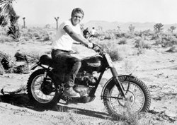 Steve McQueen on a motorcycle