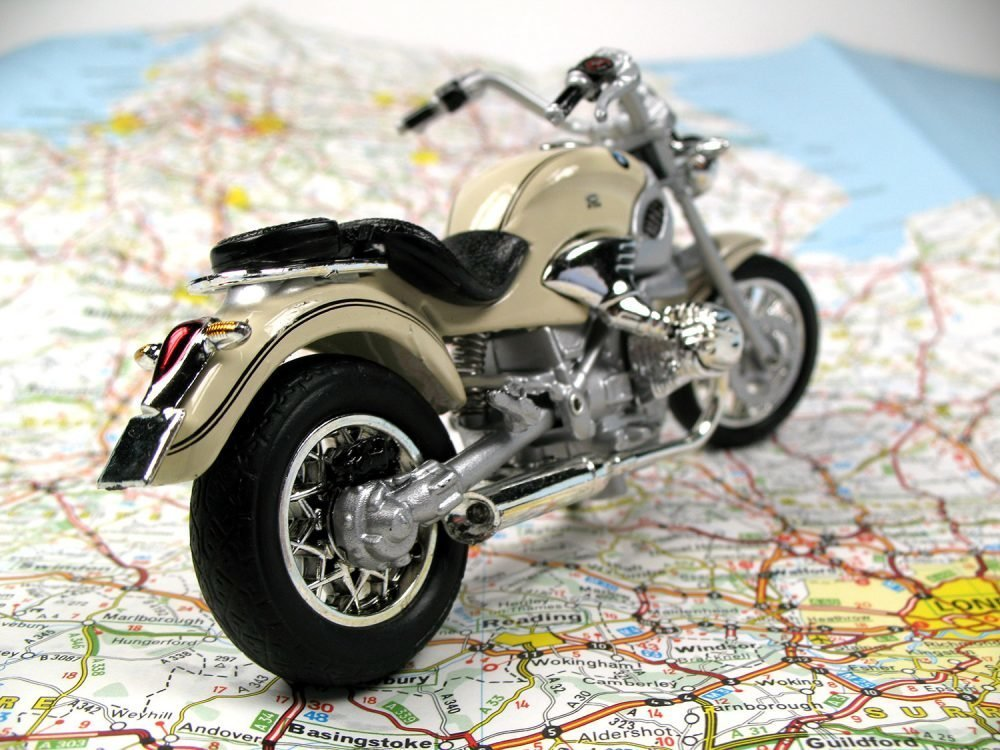 Motorcycle on a map