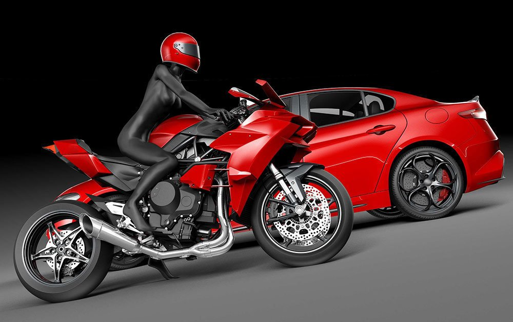 Red Car and Motorcycle