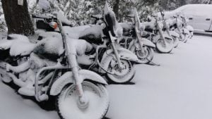 Motorcycles Parked in Snow