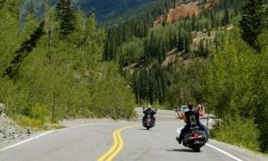 Riders on Highway in Colorado