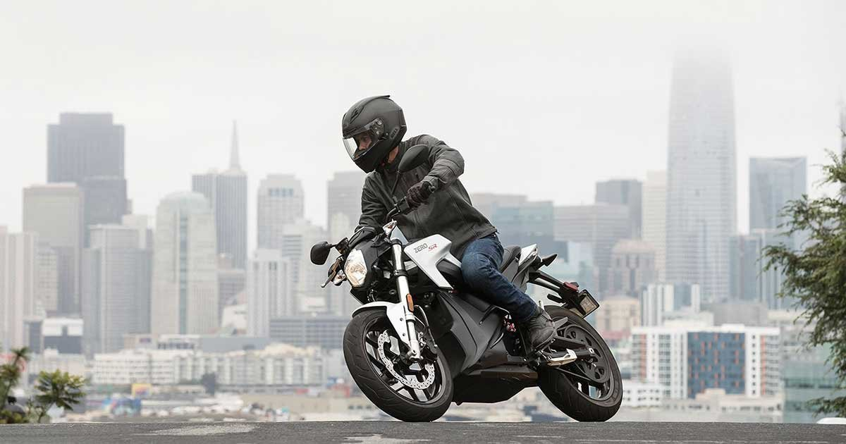 Man Riding Zero Electric Motorcycle