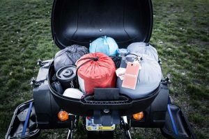 Motorcycle Luggage Packed for Camping