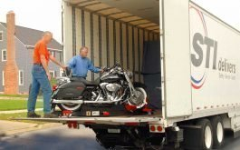 Motorcycle on special skid going into the truck