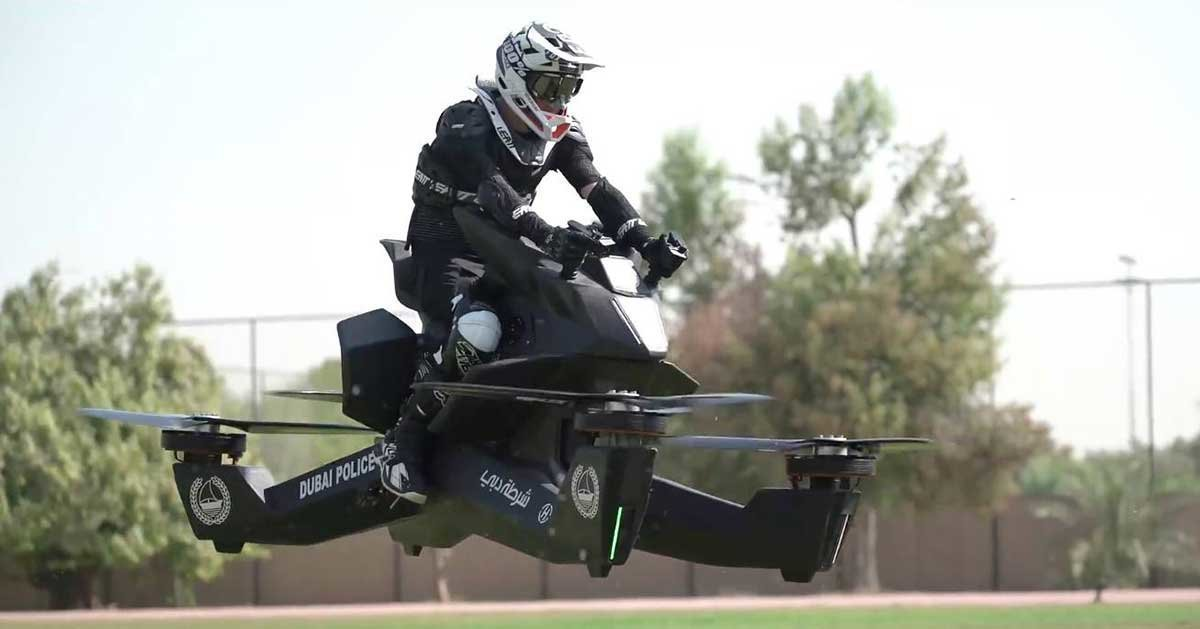 Hover Bike Floating Above Ground
