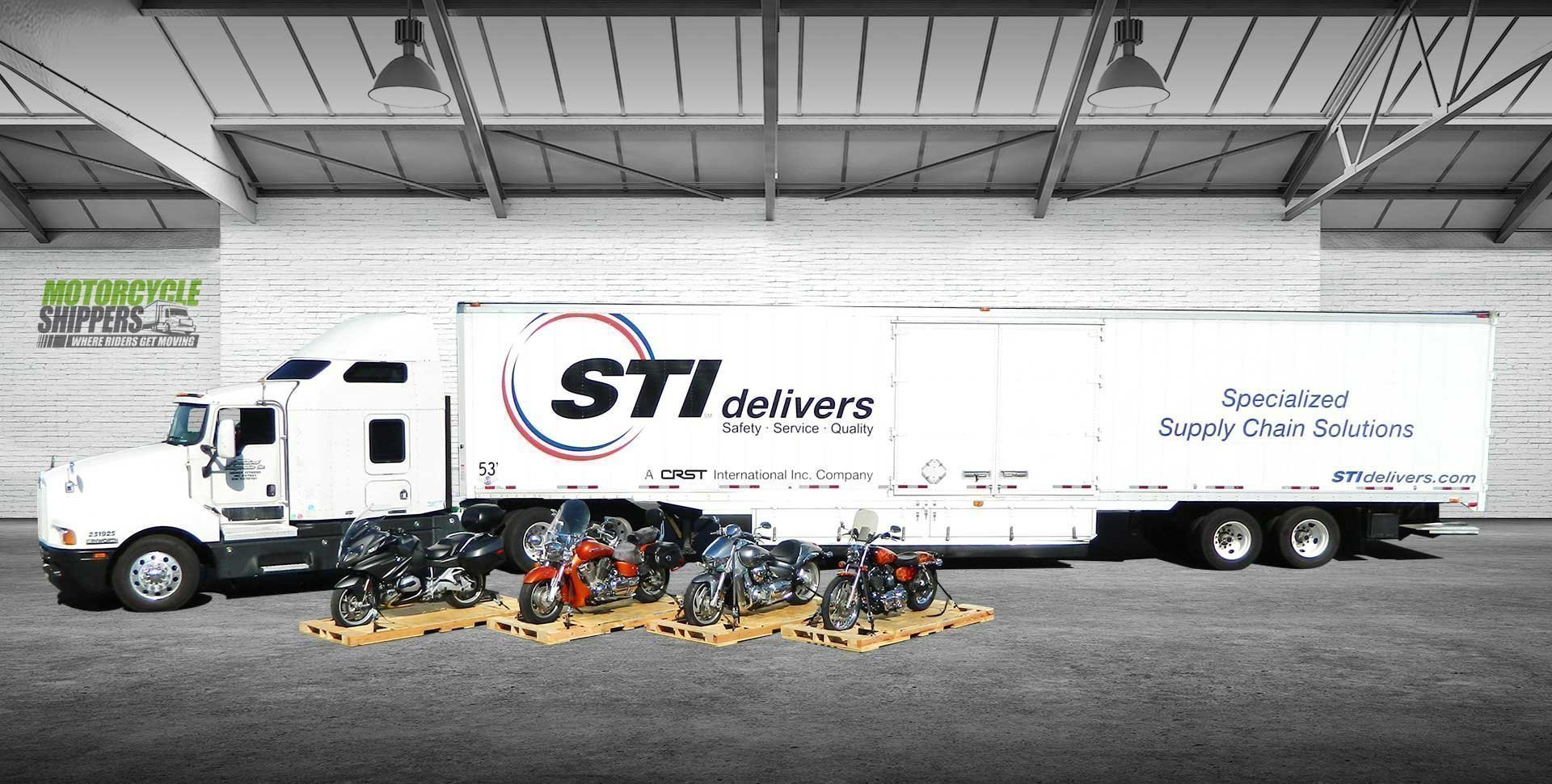 Motorcycle Shipping Truck inside Warehouse with Bikes Prepared for Transport