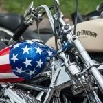 Harley with American Flag on Gas Tank