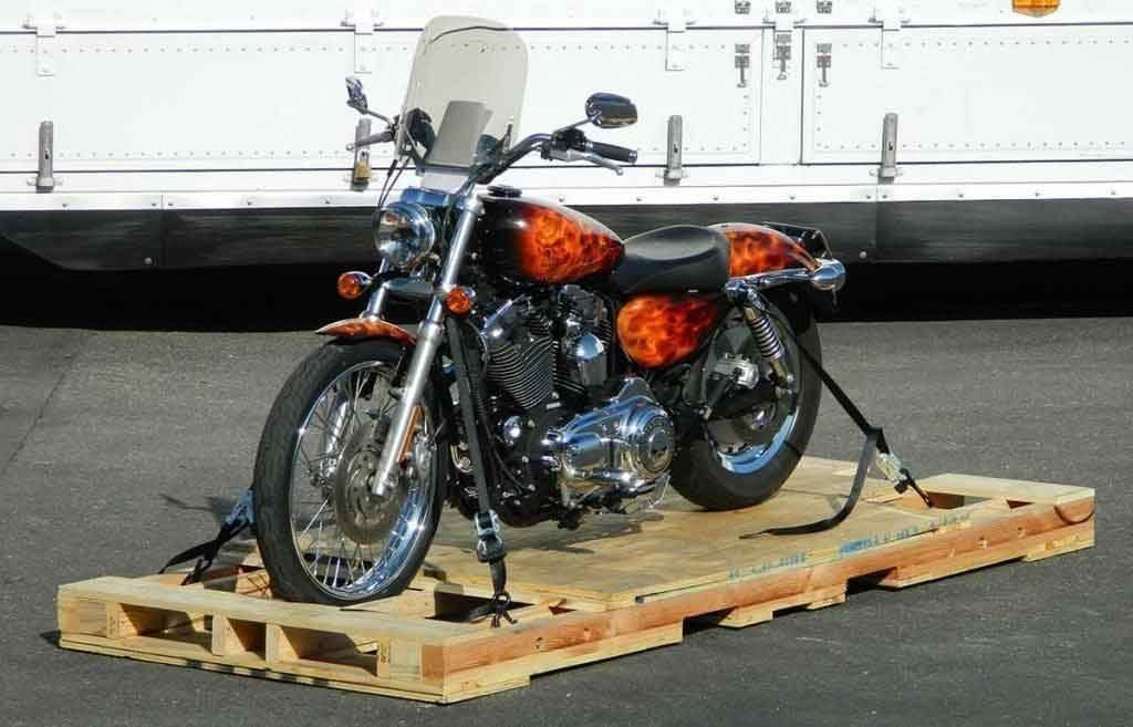 Motorcycle Tied Down Shipping Skid