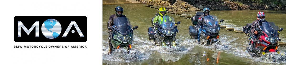 BMW MOA Motorcycle Riders Crossing a Creek