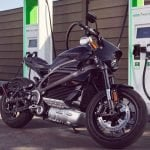 Harley Davidson Livewire motorcycle at a charging station