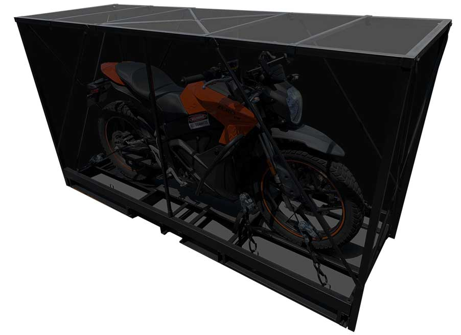 Motorcycle inside a Pop-Up crate
