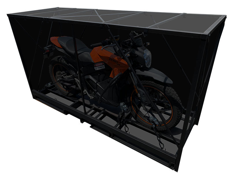 pop up motorcycle crate wrapped ready