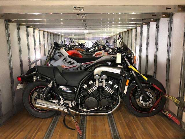 economy motorcycle shipping truck loaded