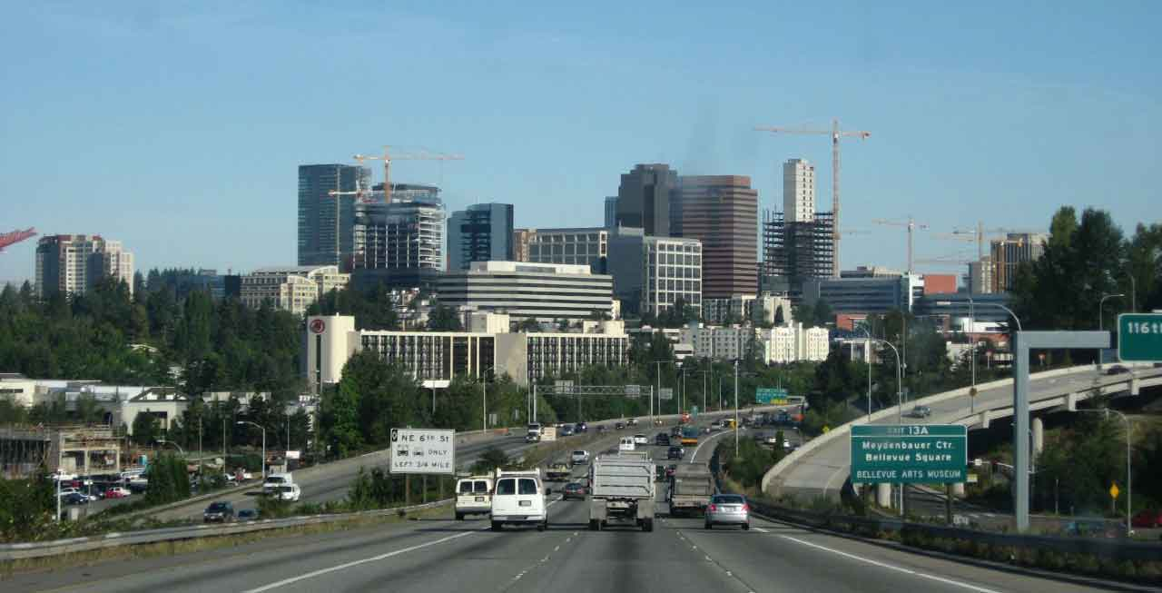 Bellevue Washington from 405 Freeway