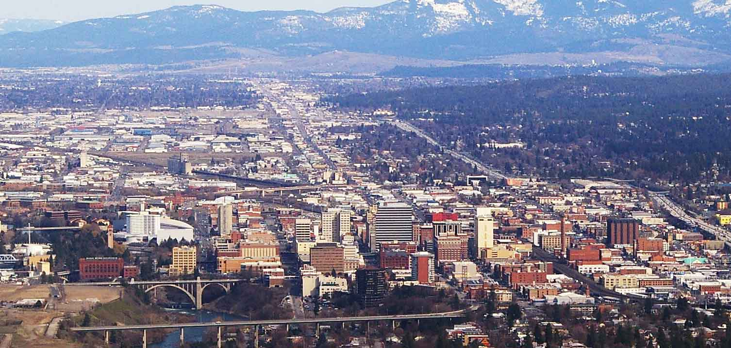 Downtown Spokane Washington on approach to the airport.