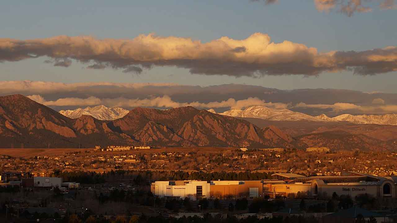 Flatirons view from Broomfield Colorado