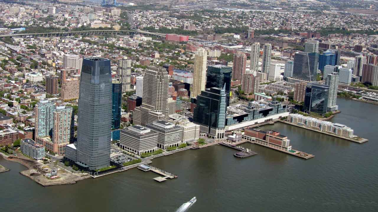 Jersey City New Jersery from Helicopter