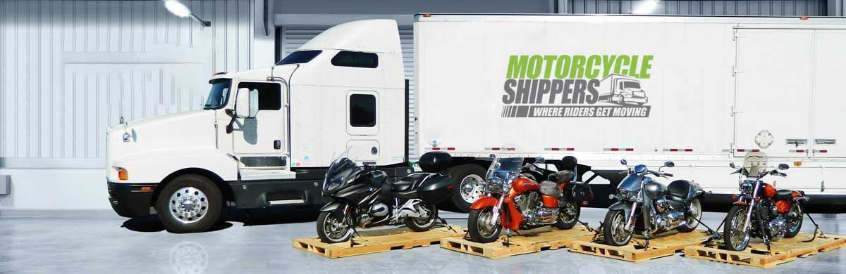 motorcycle shippers truck in warehouse