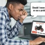 Man looking for motorcycle transport services online