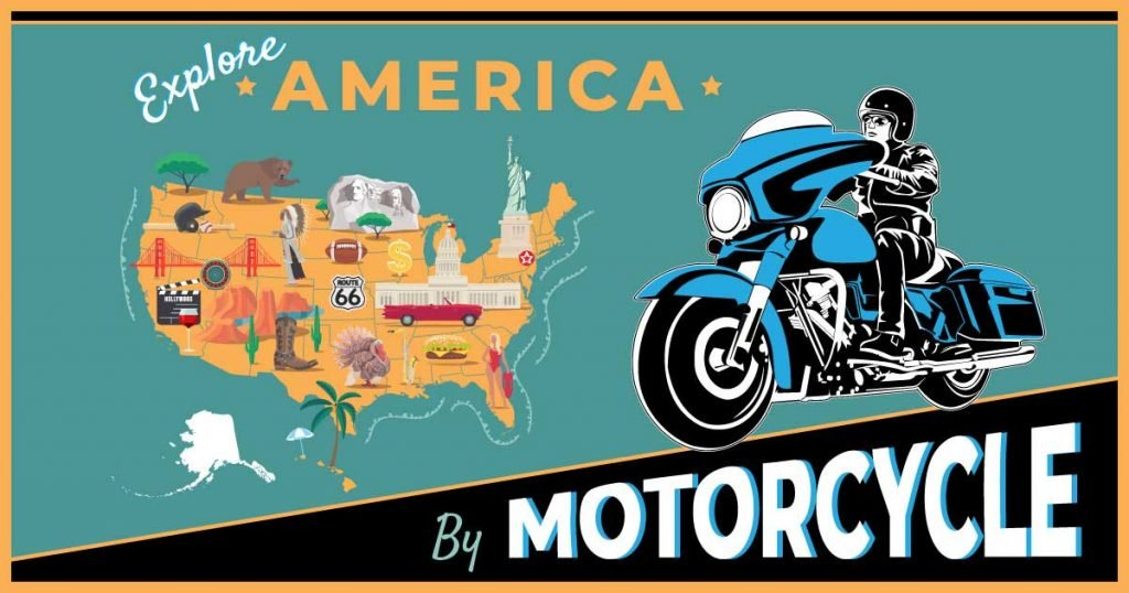 Map of the US and man riding motorcycle