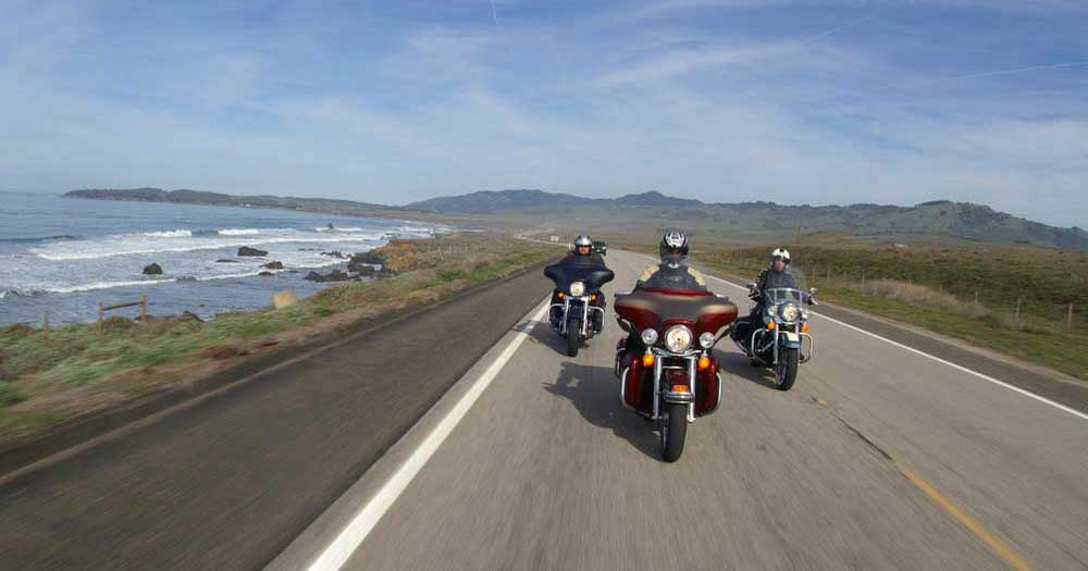 Motorcycle rider on Pacific Coast Highway