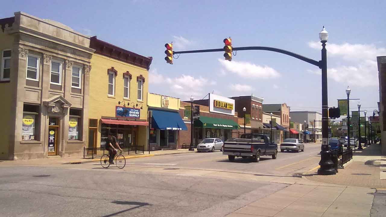 Main Street in Downtown Hobart Indiana