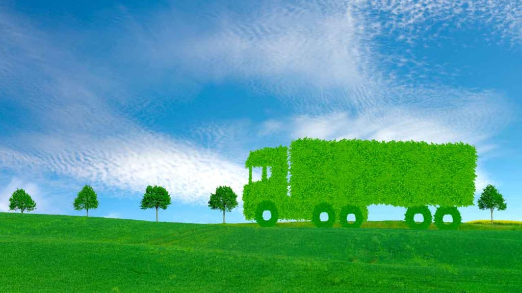 Environmentally Friendly Green Truck made of Leaves